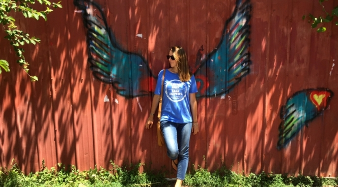 Posing with angel wings in Broad Ripple, Indianapolis, Indiana