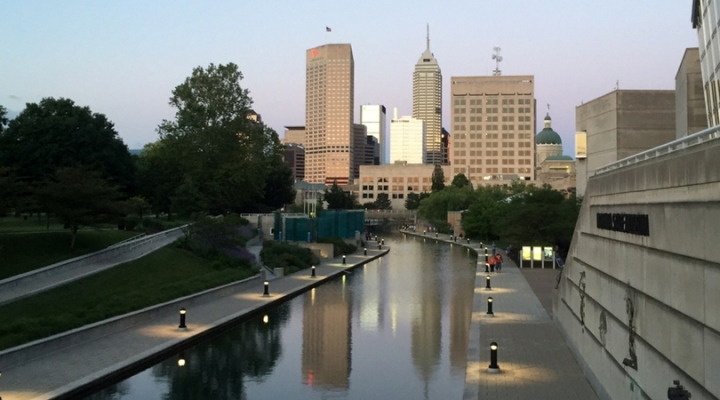 The canal in Indianapolis, Indiana at sunset
