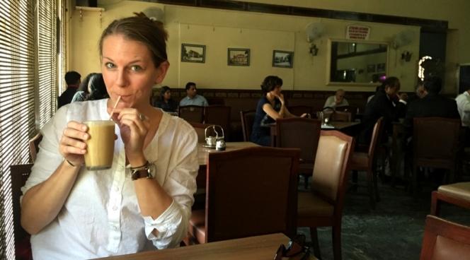 Drinking filter coffee at Koshy's in Bangalore, Karnataka, India