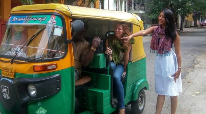 Riding in an auto-rickshaw in Bangalore, Karnataka, India